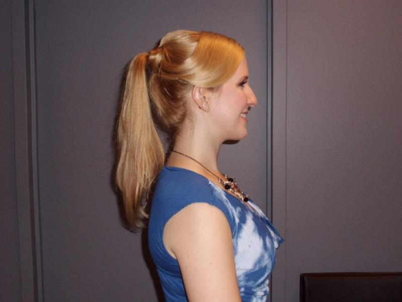 Side view of Debbie's hairstyle